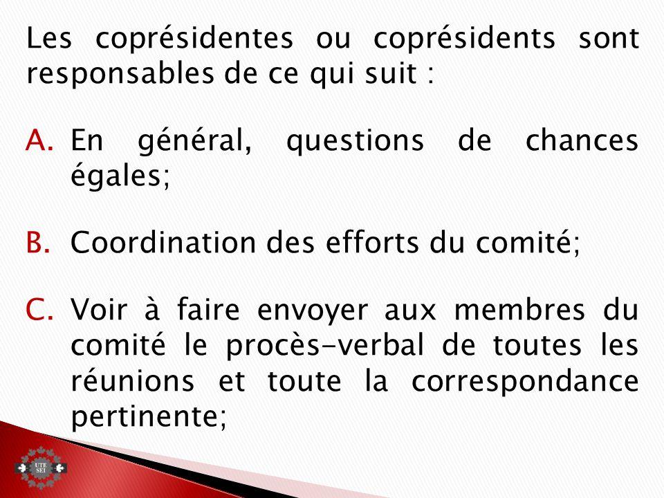 Les coprésidentes ou coprésidents sont responsables de ce qui suit : A.En général, questions de chances égales; B.Coordination des efforts du comité; C.Voir à faire envoyer aux membres du comité le procès-verbal de toutes les réunions et toute la correspondance pertinente;