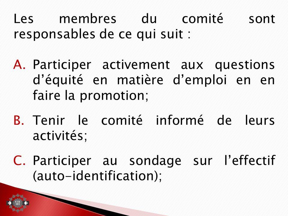 Les membres du comité sont responsables de ce qui suit : A.Participer activement aux questions déquité en matière demploi en en faire la promotion; B.Tenir le comité informé de leurs activités; C.Participer au sondage sur leffectif (auto-identification);