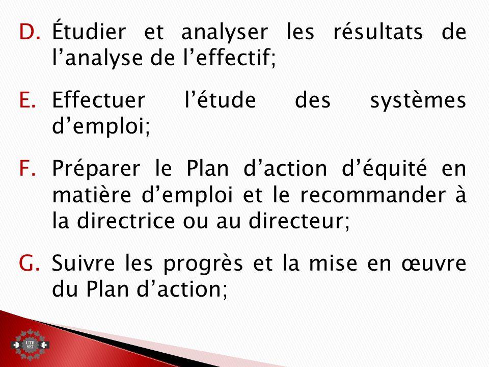 D.Étudier et analyser les résultats de lanalyse de leffectif; E.Effectuer létude des systèmes demploi; F.Préparer le Plan daction déquité en matière demploi et le recommander à la directrice ou au directeur; G.Suivre les progrès et la mise en œuvre du Plan daction;