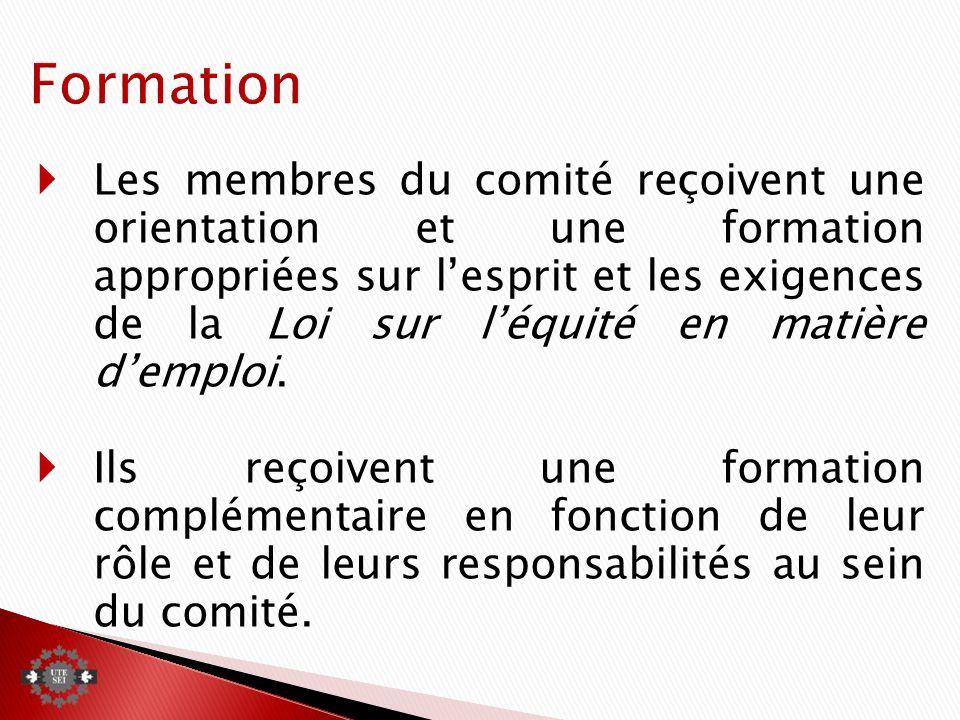 Les membres du comité reçoivent une orientation et une formation appropriées sur lesprit et les exigences de la Loi sur léquité en matière demploi.