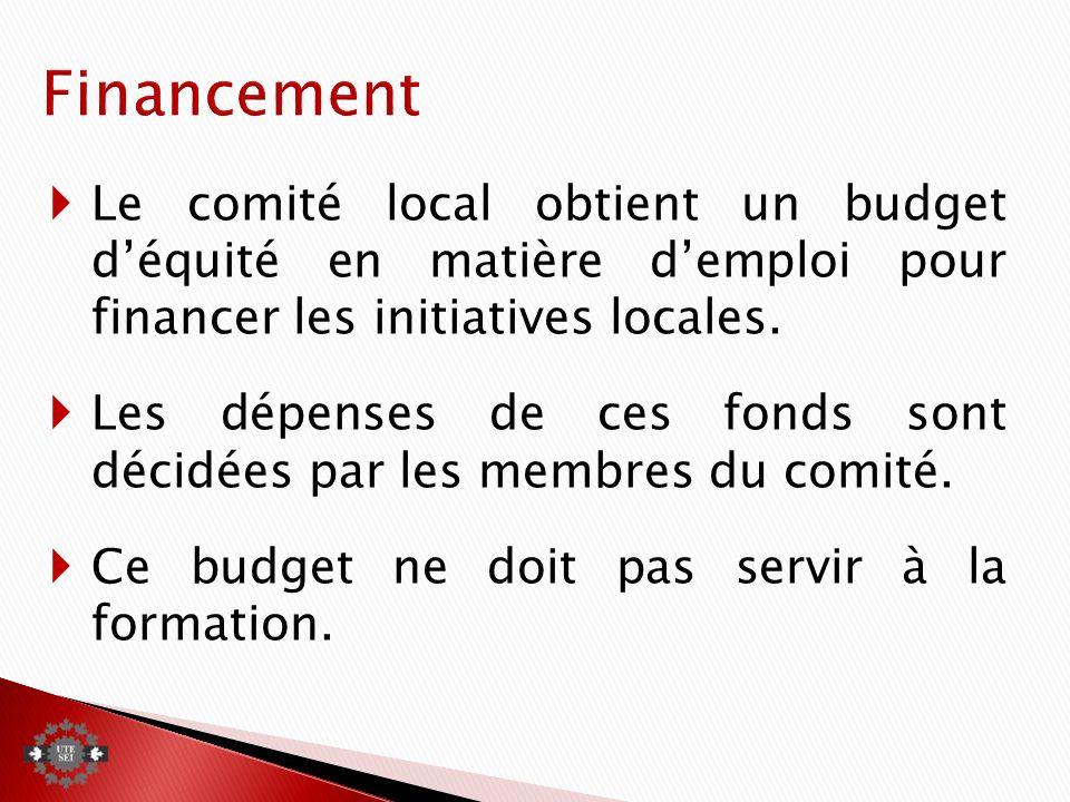 Le comité local obtient un budget déquité en matière demploi pour financer les initiatives locales.