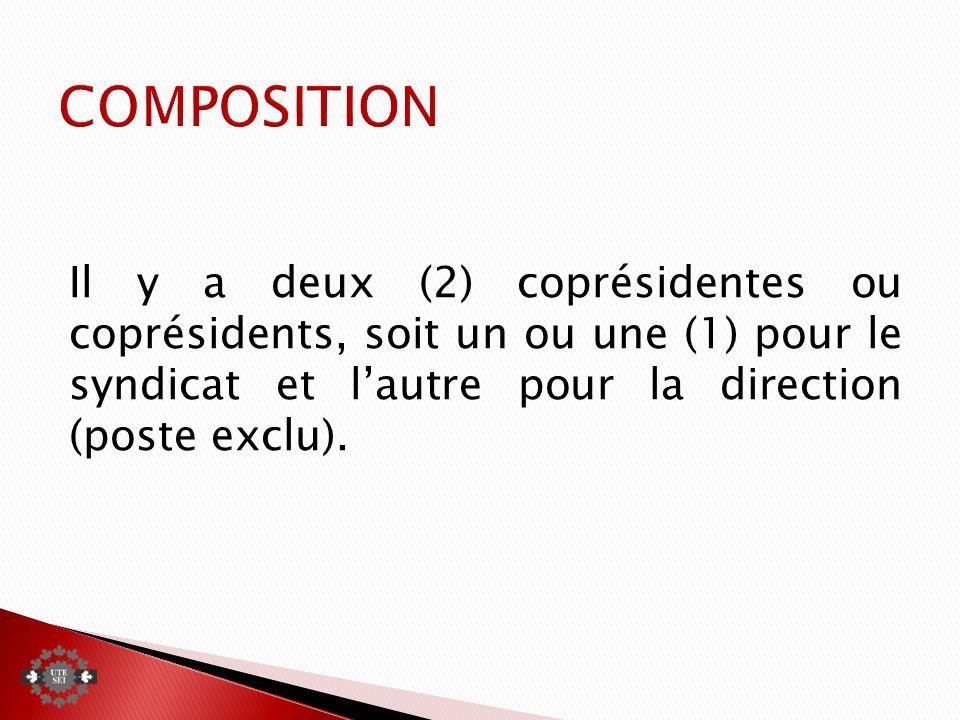 Il y a deux (2) coprésidentes ou coprésidents, soit un ou une (1) pour le syndicat et lautre pour la direction (poste exclu).