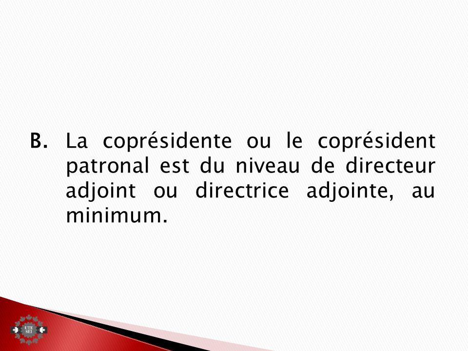 B.La coprésidente ou le coprésident patronal est du niveau de directeur adjoint ou directrice adjointe, au minimum.