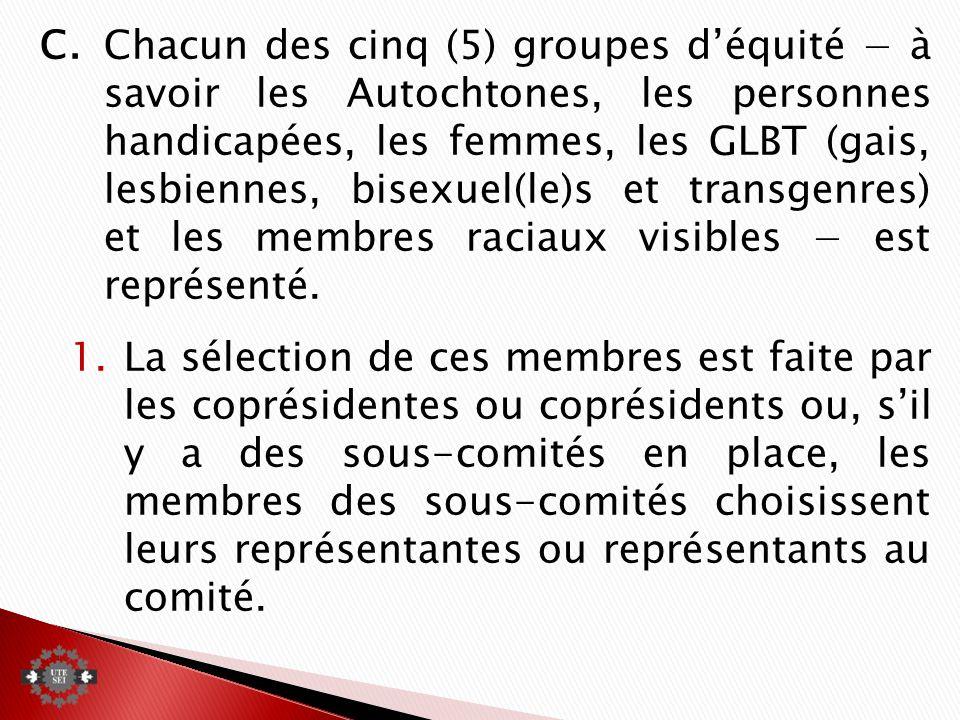 C.Chacun des cinq (5) groupes déquité à savoir les Autochtones, les personnes handicapées, les femmes, les GLBT (gais, lesbiennes, bisexuel(le)s et transgenres) et les membres raciaux visibles est représenté.
