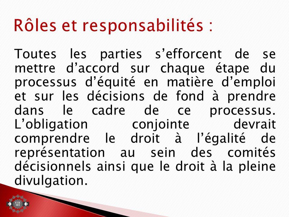Toutes les parties sefforcent de se mettre daccord sur chaque étape du processus déquité en matière demploi et sur les décisions de fond à prendre dans le cadre de ce processus.
