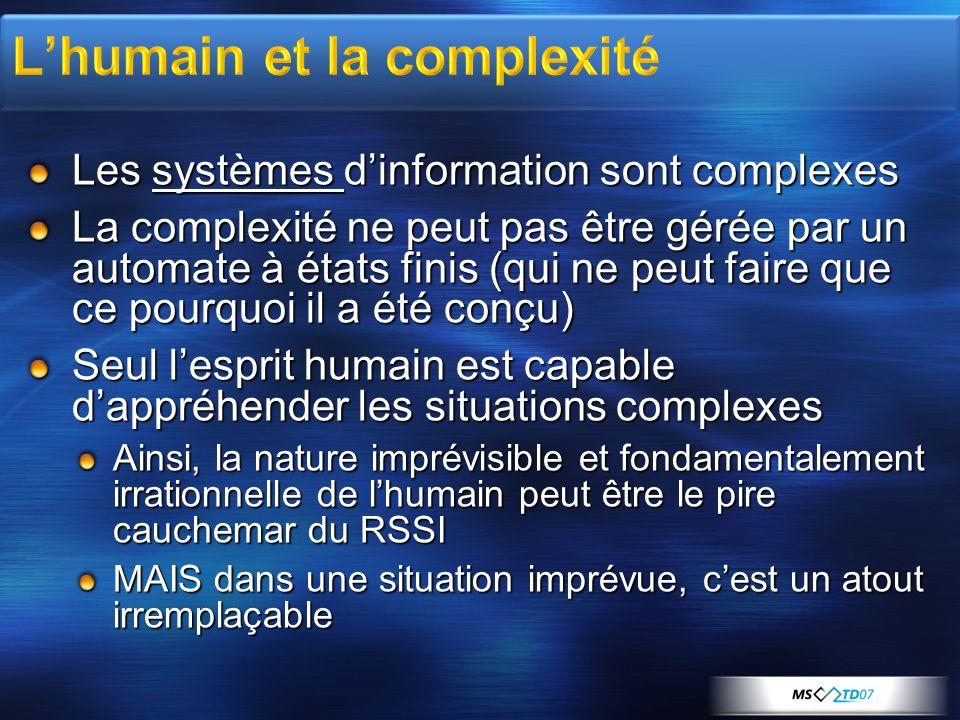 Les systèmes dinformation sont complexes La complexité ne peut pas être gérée par un automate à états finis (qui ne peut faire que ce pourquoi il a ét