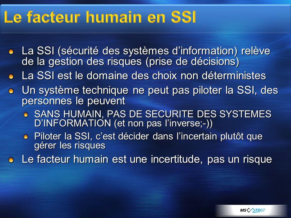 La SSI (sécurité des systèmes dinformation) relève de la gestion des risques (prise de décisions) La SSI est le domaine des choix non déterministes Un