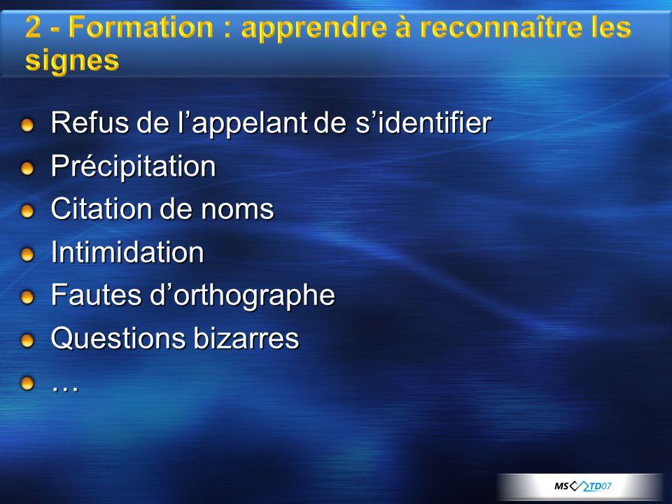 Refus de lappelant de sidentifier Précipitation Citation de noms Intimidation Fautes dorthographe Questions bizarres …