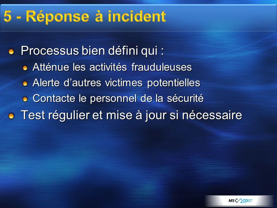 Processus bien défini qui : Atténue les activités frauduleuses Alerte dautres victimes potentielles Contacte le personnel de la sécurité Test régulier