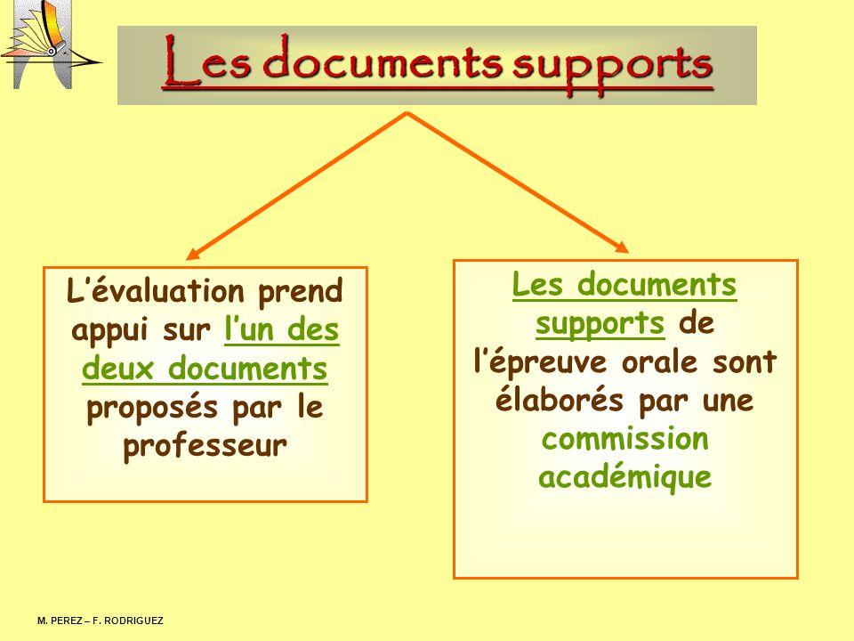 Les documents supports M. PEREZ – F. RODRIGUEZ Lévaluation prend appui sur lun des deux documents proposés par le professeur Les documents supports de
