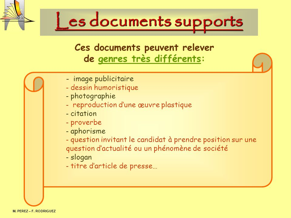 Les documents supports M.PEREZ – F.