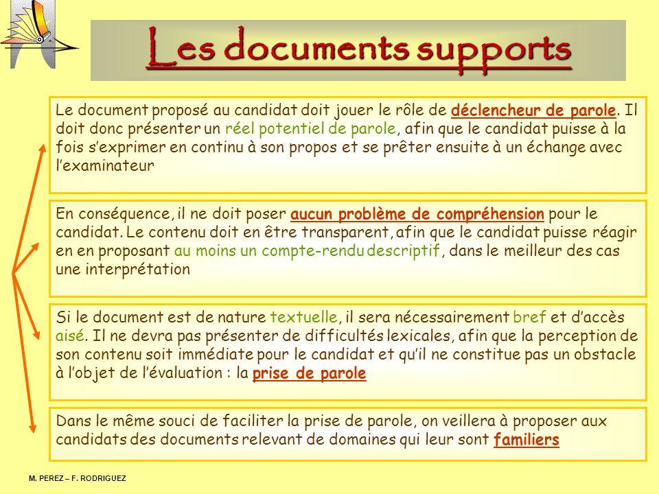 Les documents supports M. PEREZ – F. RODRIGUEZ Le document proposé au candidat doit jouer le rôle de déclencheur de parole. Il doit donc présenter un