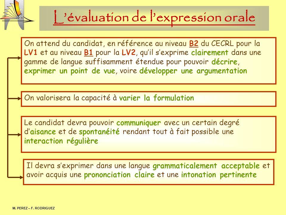Lévaluation de lexpression orale M. PEREZ – F. RODRIGUEZ. On valorisera la capacité à varier la formulation On attend du candidat, en référence au niv