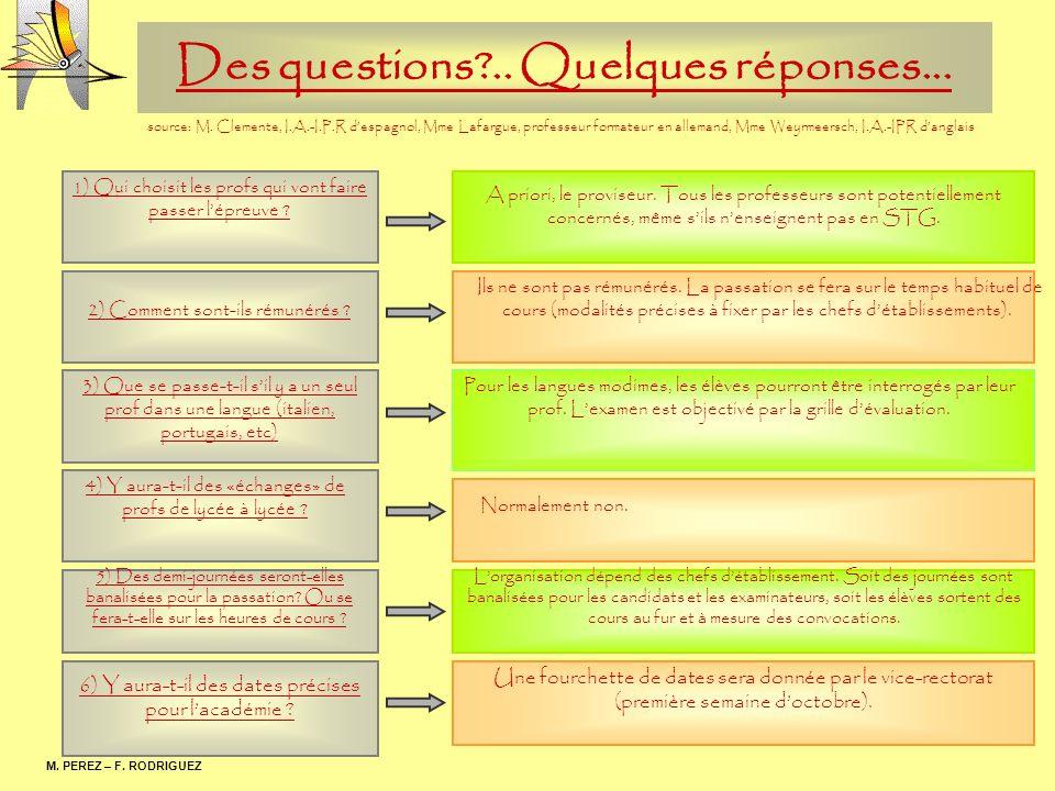 Des questions?.. Quelques réponses... M. PEREZ – F. RODRIGUEZ 1) Qui choisit les profs qui vont faire passer lépreuve ? 2) Comment sont-ils rémunérés