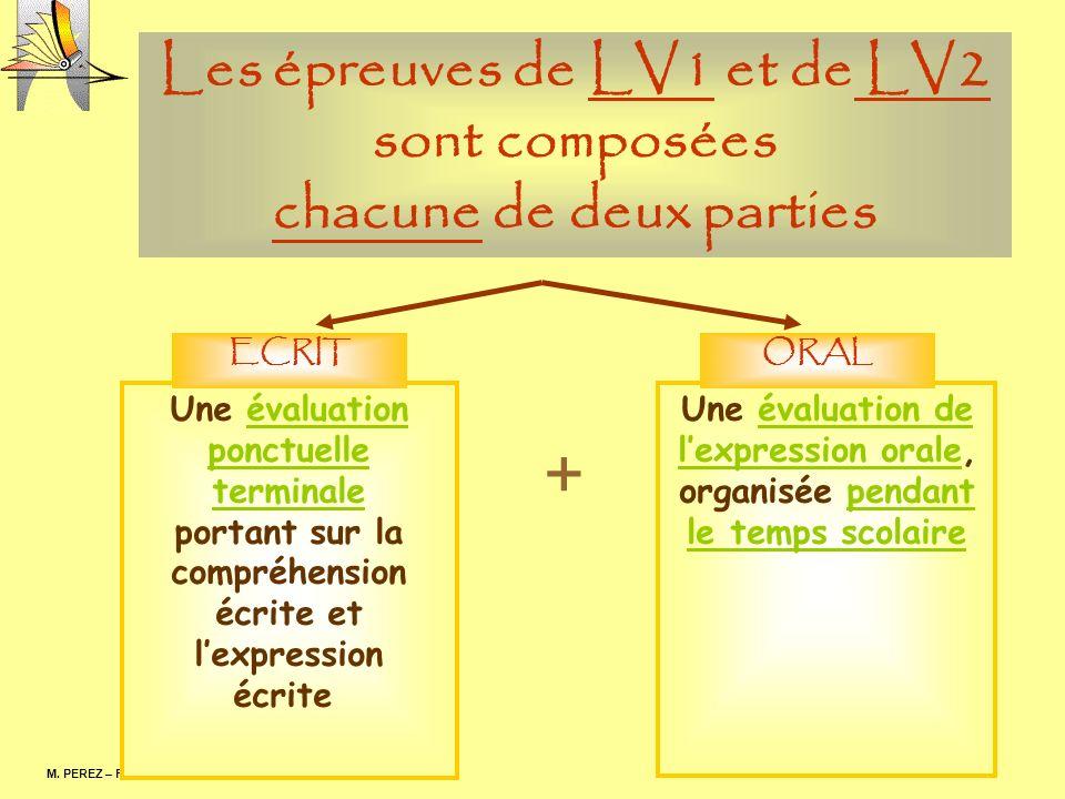Les épreuves de LV1 et de LV2 sont composées chacune de deux parties M. PEREZ – F. RODRIGUEZ Une évaluation ponctuelle terminale portant sur la compré