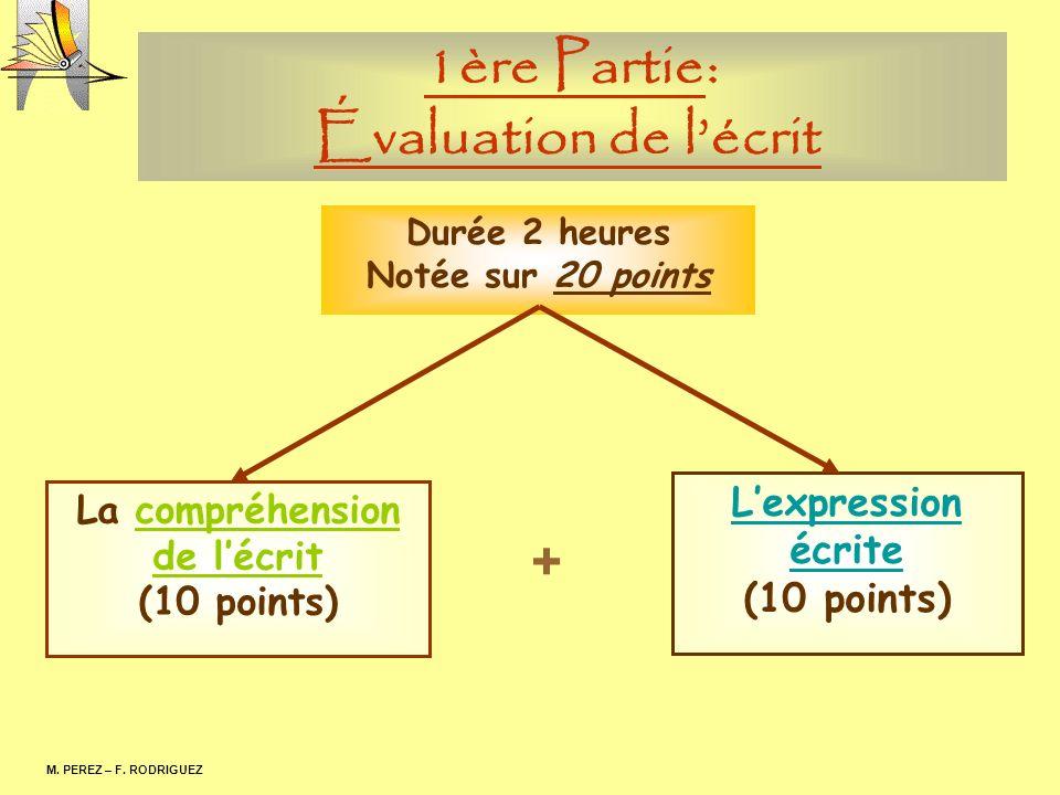 1ère Partie: Évaluation de lécrit M. PEREZ – F. RODRIGUEZ Durée 2 heures Notée sur 20 points La compréhension de lécrit (10 points) Lexpression écrite