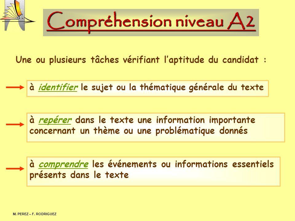 Compréhension niveau A2 M. PEREZ – F. RODRIGUEZ Une ou plusieurs tâches vérifiant laptitude du candidat : à identifier le sujet ou la thématique génér
