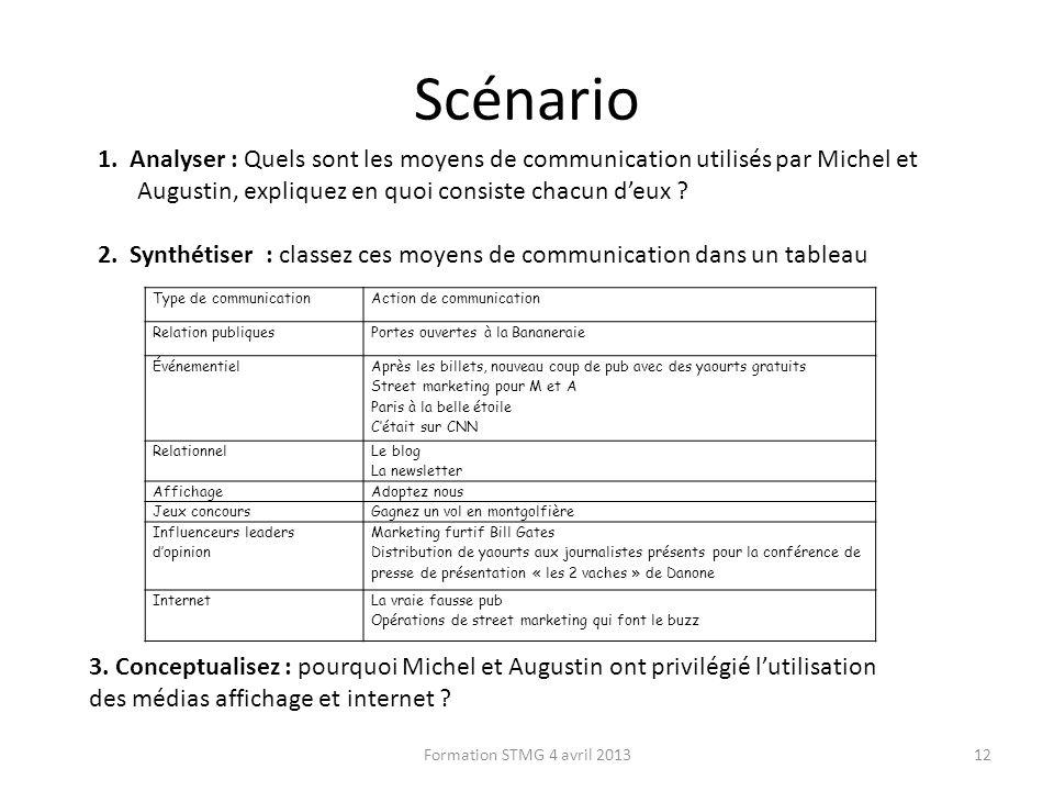 Scénario Formation STMG 4 avril 201312 1. Analyser : Quels sont les moyens de communication utilisés par Michel et Augustin, expliquez en quoi consist