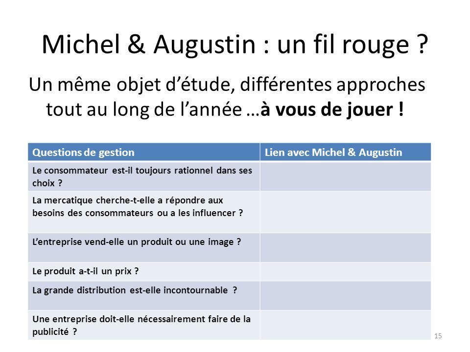 Michel & Augustin : un fil rouge ? Un même objet détude, différentes approches tout au long de lannée …à vous de jouer ! Formation STMG 4 avril 201315