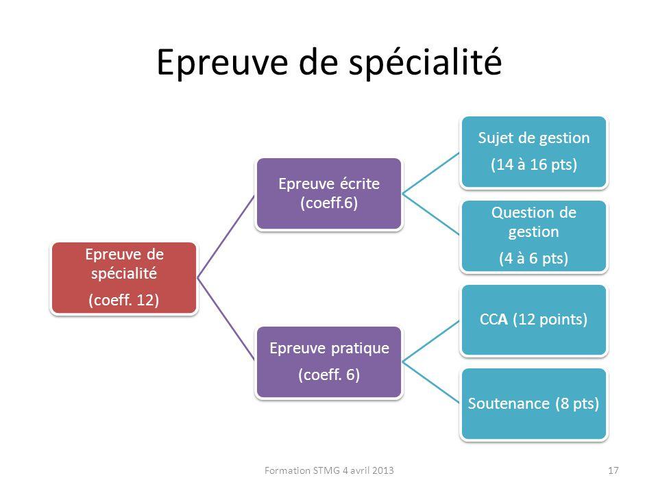 Epreuve de spécialité (coeff. 12) Epreuve écrite (coeff.6) Sujet de gestion (14 à 16 pts) Question de gestion (4 à 6 pts) Epreuve pratique (coeff. 6)
