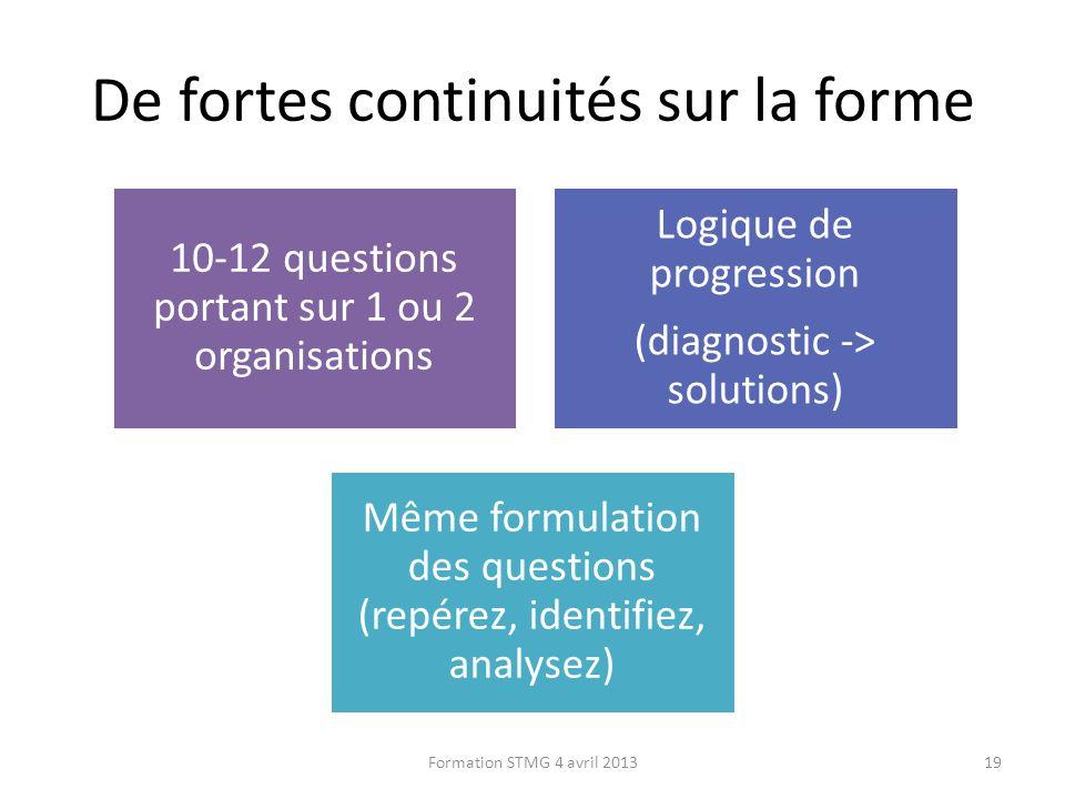 De fortes continuités sur la forme 10-12 questions portant sur 1 ou 2 organisations Logique de progression (diagnostic -> solutions) Même formulation