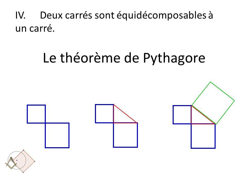 IV. Deux carrés sont équidécomposables à un carré. Le théorème de Pythagore