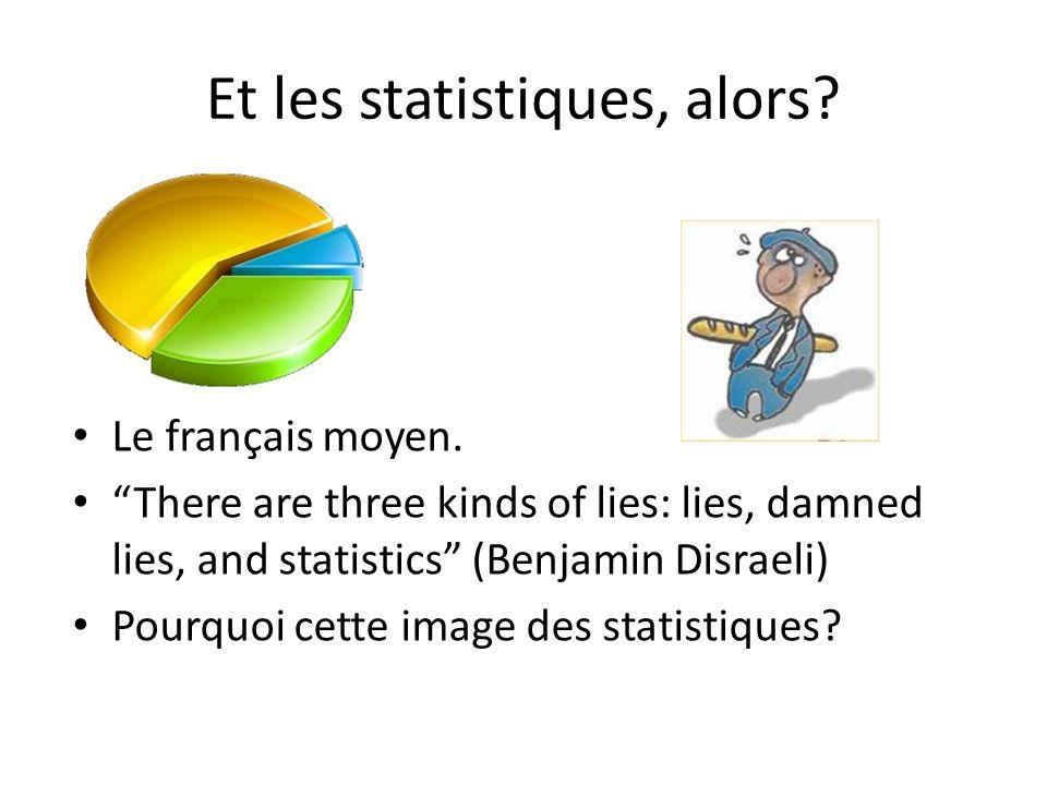 Et les statistiques, alors? Le français moyen. There are three kinds of lies: lies, damned lies, and statistics (Benjamin Disraeli) Pourquoi cette ima