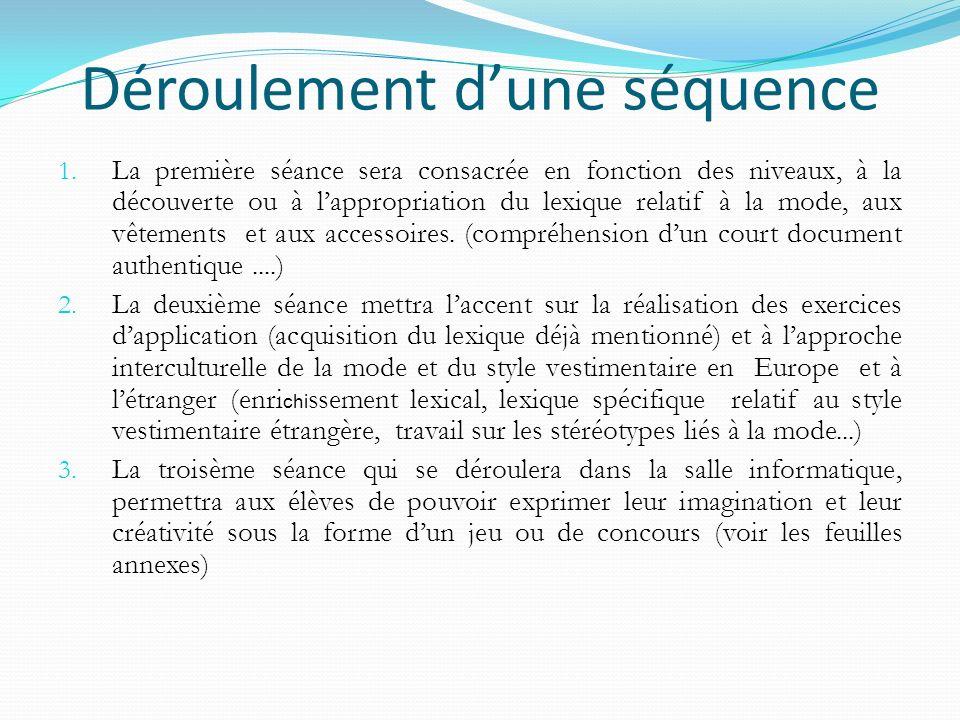 Déroulement dune séquence 1. La première séance sera consacrée en fonction des niveaux, à la décou v erte ou à lappropriation du lexique relatif à la