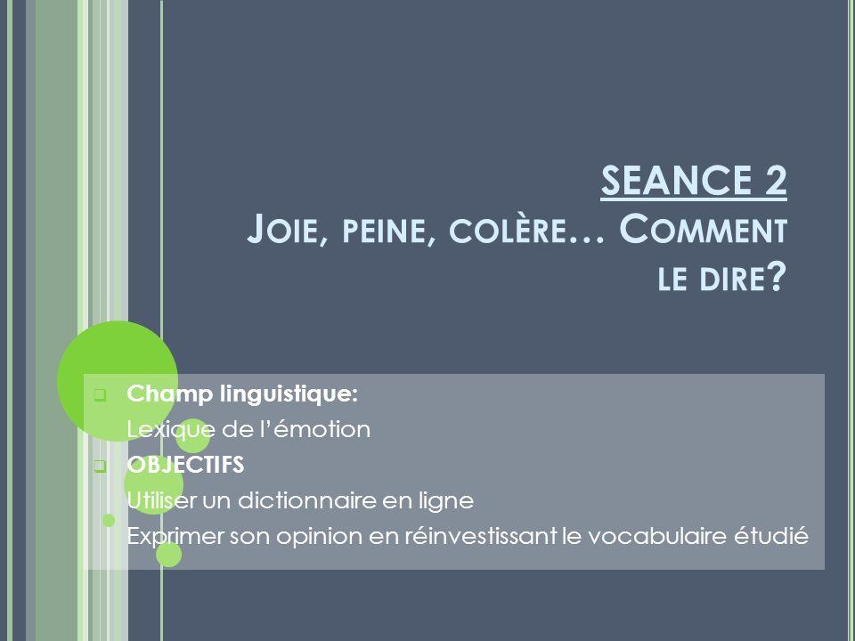 SEANCE 2 J OIE, PEINE, COLÈRE … C OMMENT LE DIRE .