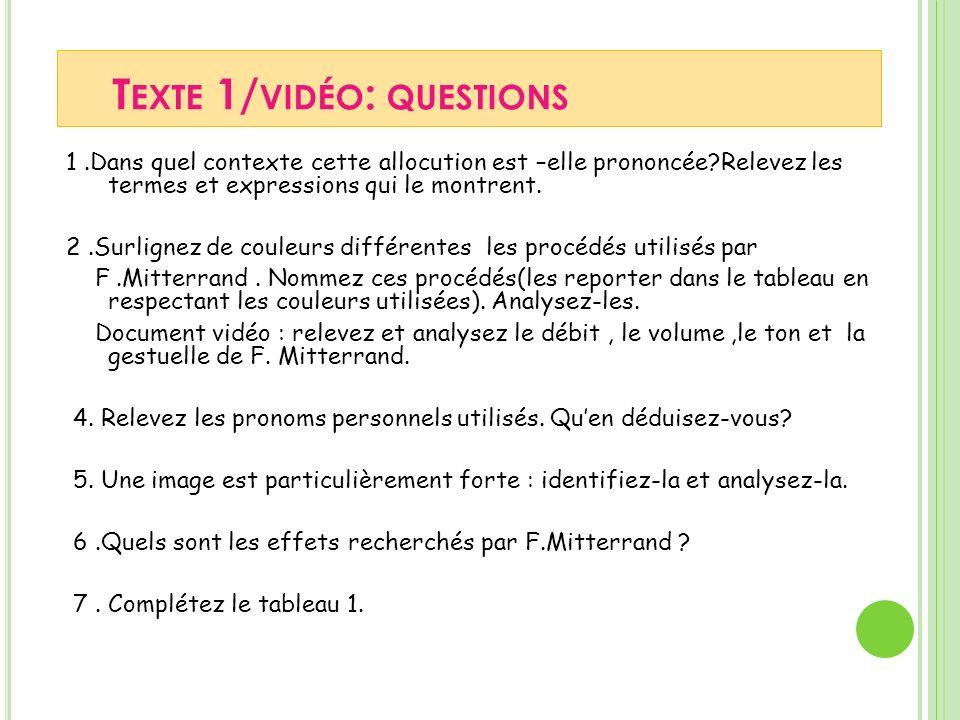 T EXTE 1/ VIDÉO : QUESTIONS 1.Dans quel contexte cette allocution est –elle prononcée?Relevez les termes et expressions qui le montrent.