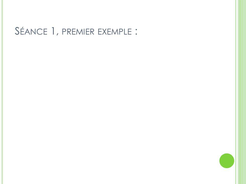 S ÉANCE 1, PREMIER EXEMPLE :