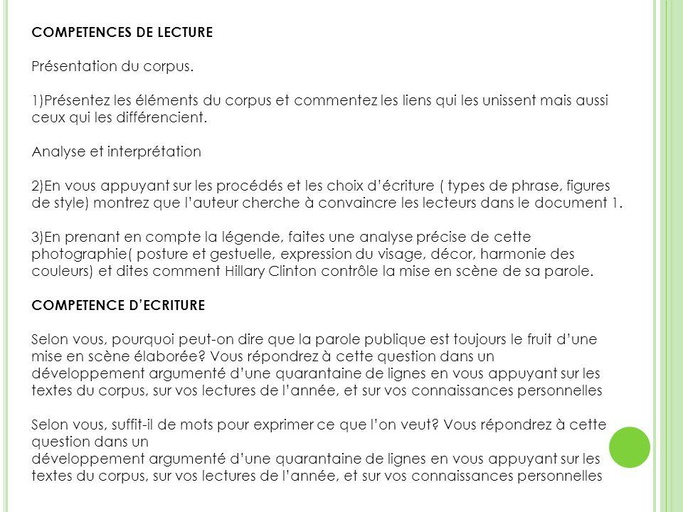COMPETENCES DE LECTURE Présentation du corpus.