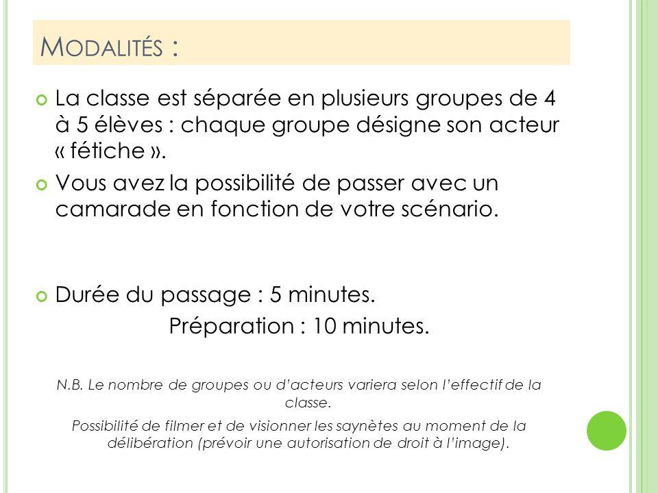 M ODALITÉS : La classe est séparée en plusieurs groupes de 4 à 5 élèves : chaque groupe désigne son acteur « fétiche ».