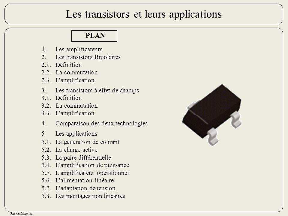 Fabrice Mathieu PLAN 1. Les amplificateurs 2.Les transistors Bipolaires 2.1.Définition 2.2. La commutation 2.3.Lamplification 3.Les transistors à effe