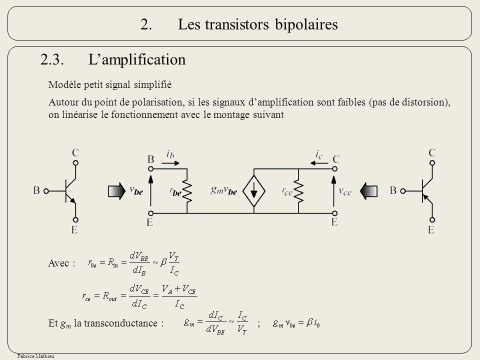 Fabrice Mathieu Autour du point de polarisation, si les signaux damplification sont faibles (pas de distorsion), on linéarise le fonctionnement avec l