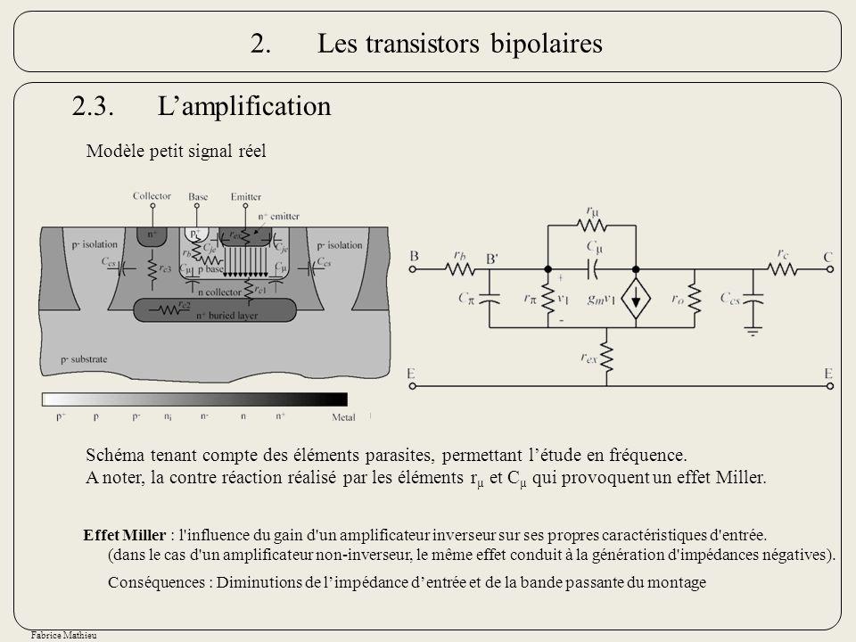 Fabrice Mathieu Schéma tenant compte des éléments parasites, permettant létude en fréquence. A noter, la contre réaction réalisé par les éléments r µ