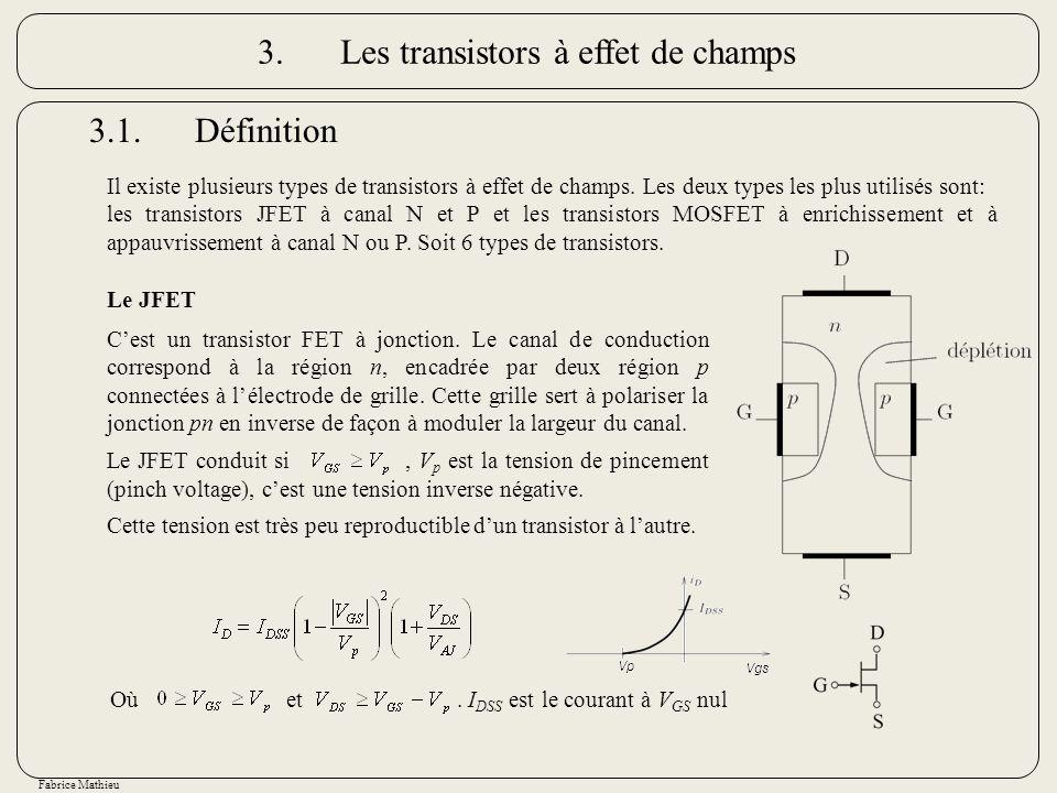Fabrice Mathieu 3.1.Définition Il existe plusieurs types de transistors à effet de champs. Les deux types les plus utilisés sont: les transistors JFET