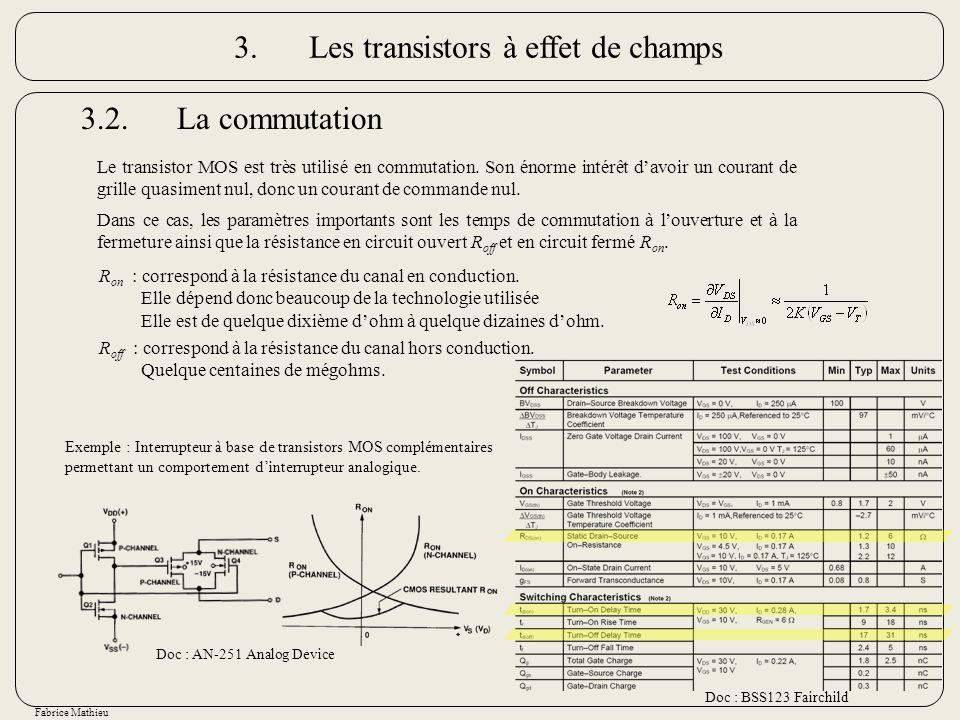 Fabrice Mathieu 3.2.La commutation Le transistor MOS est très utilisé en commutation. Son énorme intérêt davoir un courant de grille quasiment nul, do