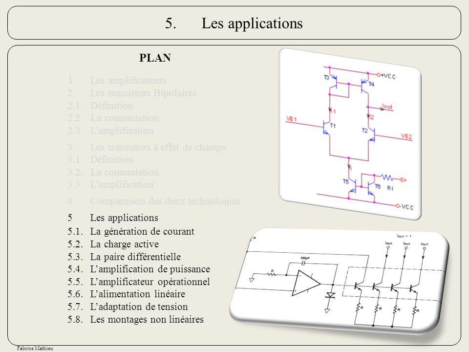 Fabrice Mathieu 5.Les applications PLAN 1. Les amplificateurs 2.Les transistors Bipolaires 2.1.Définition 2.2. La commutation 2.3.Lamplification 3.Les