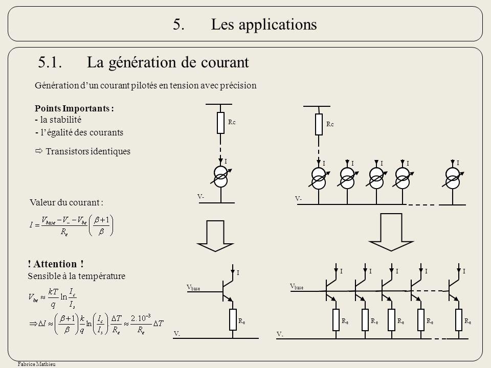 Fabrice Mathieu Génération dun courant pilotés en tension avec précision Points Importants : - la stabilité 5.1.La génération de courant I Rc V- V - V
