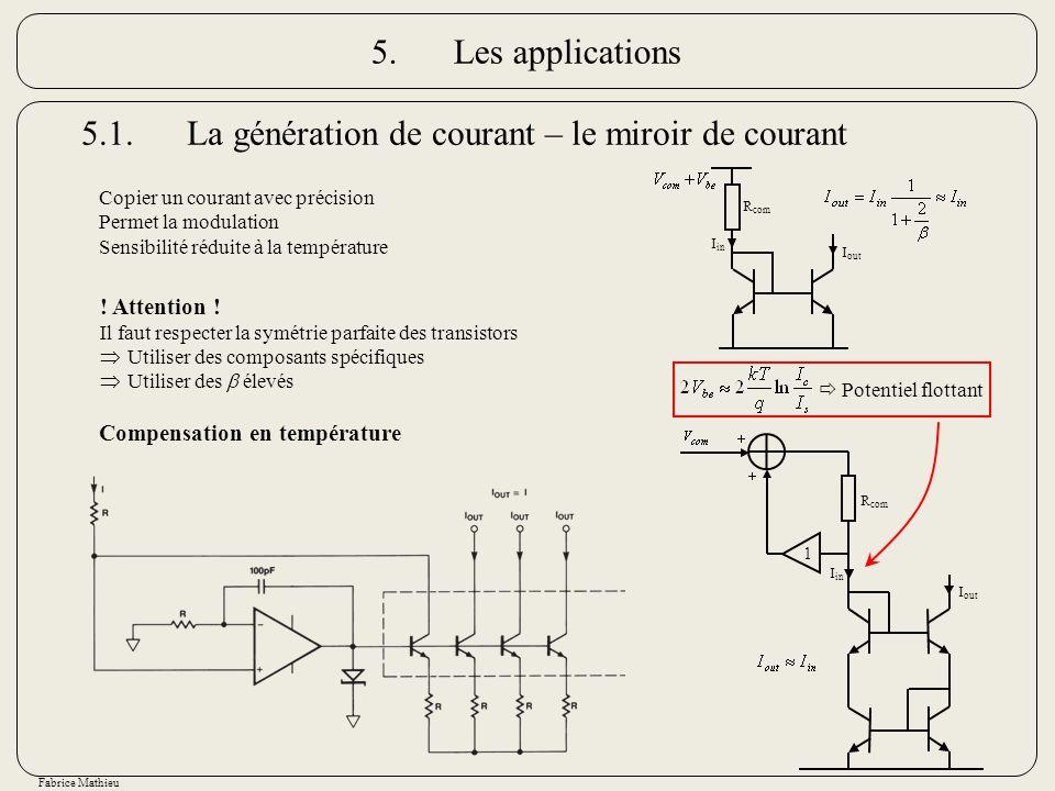 Fabrice Mathieu 5.1.La génération de courant – le miroir de courant Copier un courant avec précision Permet la modulation Sensibilité réduite à la tem
