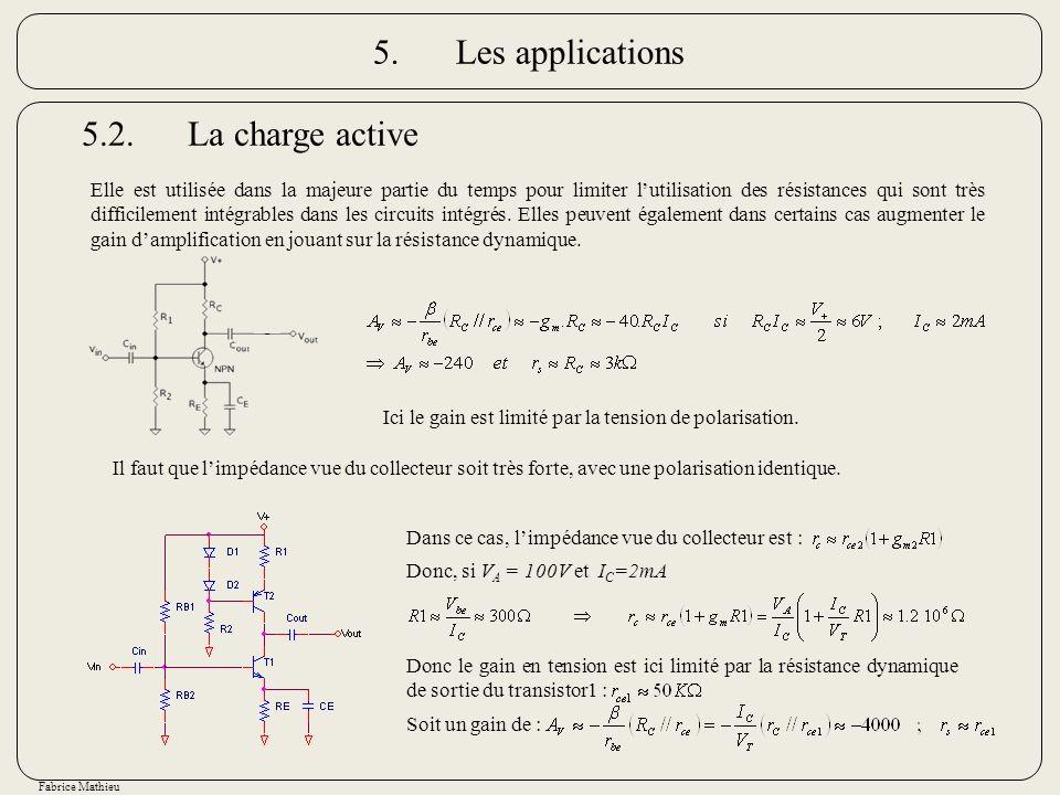 Fabrice Mathieu 5.2.La charge active Ici le gain est limité par la tension de polarisation. Il faut que limpédance vue du collecteur soit très forte,