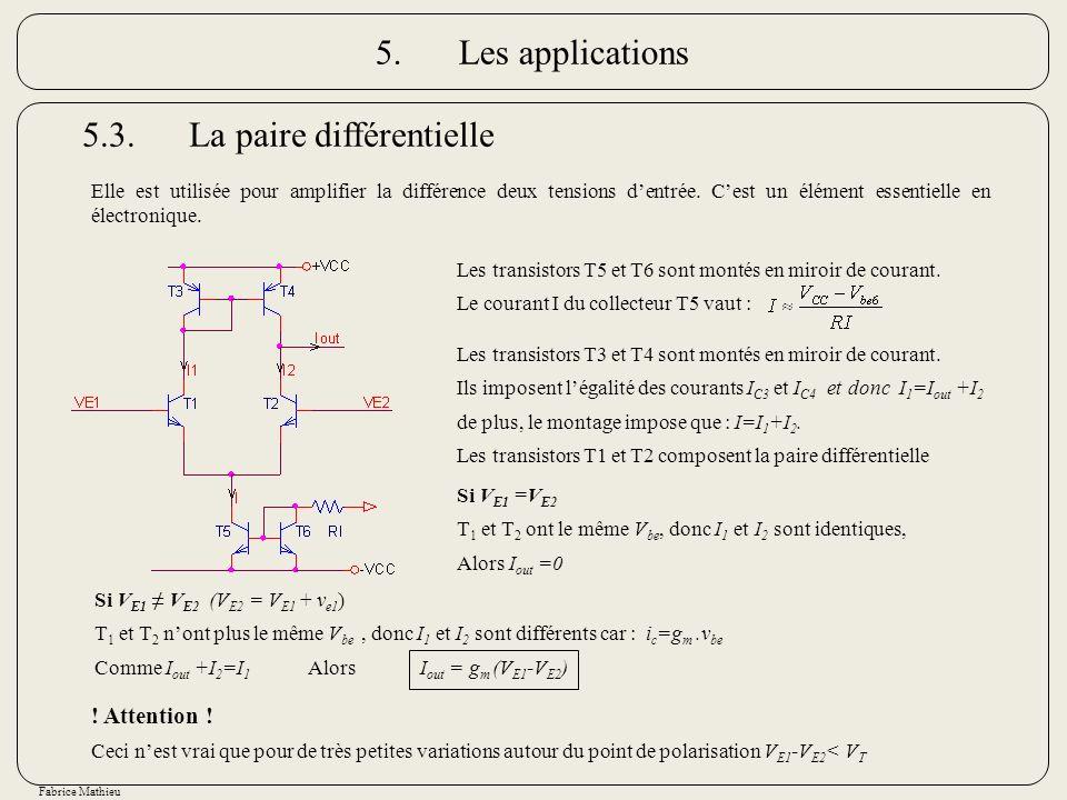 Fabrice Mathieu 5.3.La paire différentielle Elle est utilisée pour amplifier la différence deux tensions dentrée. Cest un élément essentielle en élect