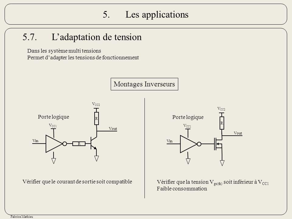 Fabrice Mathieu 5.7.Ladaptation de tension Dans les système multi tensions Permet dadapter les tensions de fonctionnement Porte logique R R Vout Vin V