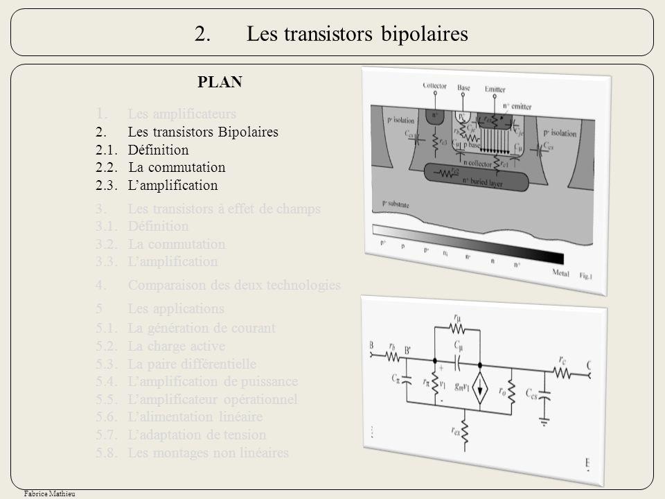 Fabrice Mathieu 2.Les transistors bipolaires PLAN 1. Les amplificateurs 2.Les transistors Bipolaires 2.1.Définition 2.2. La commutation 2.3.Lamplifica