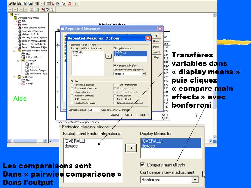 Comparaisons a posteriori et a priori zPost hoc SPSS: Cliquez sur options