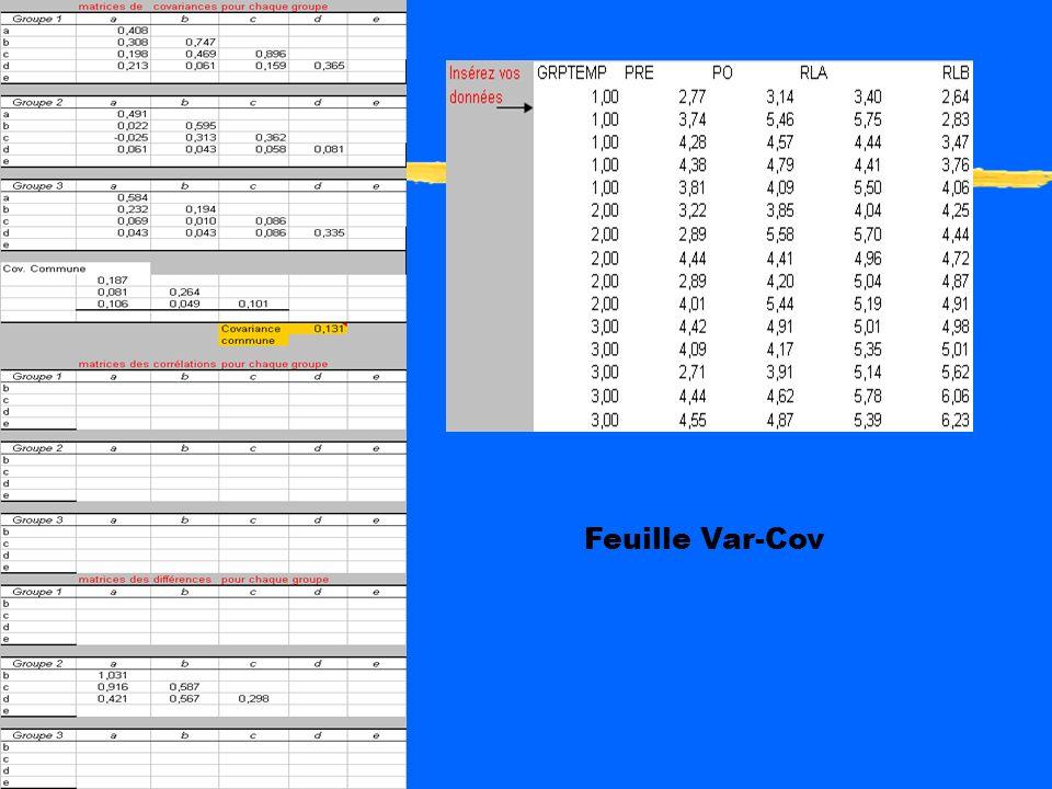 Procédure EXCEL zEntrez les données brutes dans la feuille « Var-Cov » zInsérez les données du groupe 1 dans la feuille « corrél. et covar. par groupe
