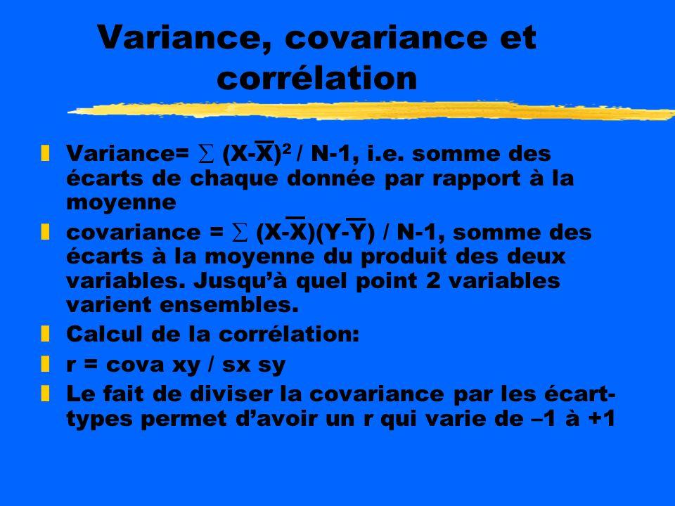 Variance, covariance et corrélation zVariance= (X-X) 2 / N-1, i.e.