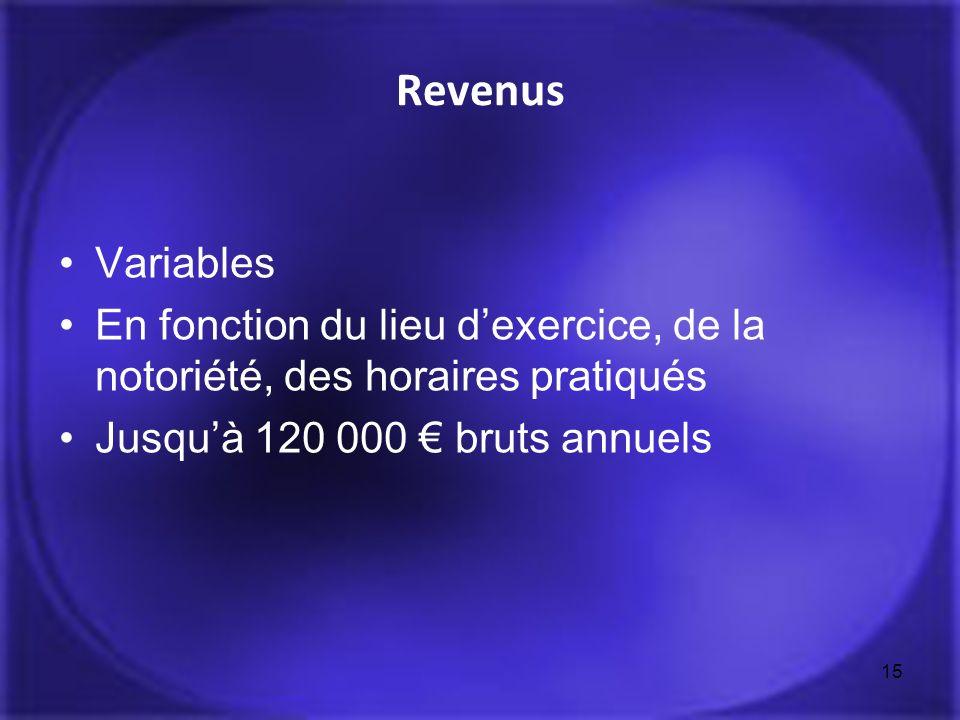 Revenus Variables En fonction du lieu dexercice, de la notoriété, des horaires pratiqués Jusquà 120 000 bruts annuels 15