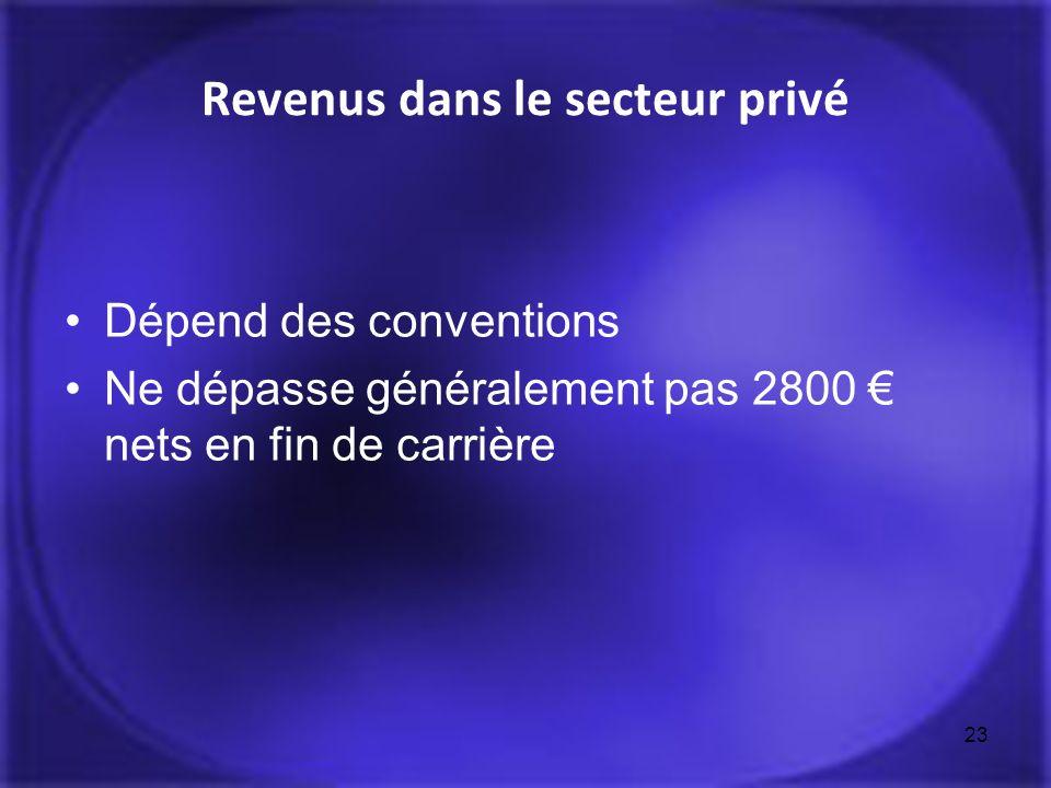 Revenus dans le secteur privé Dépend des conventions Ne dépasse généralement pas 2800 nets en fin de carrière 23